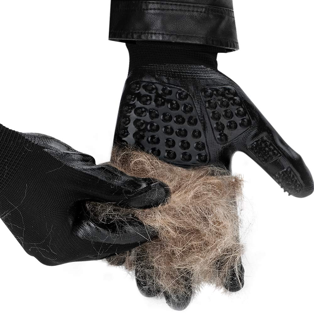 DELOMO Pet Deshedding Glove, Left & Right-Gentle Grooming Gloves, for Dogs,Cats & Horses, Efficient Pet Hair Remover Glove, Hair Glove with Enhanced Five Finger Design by DELOMO (Image #2)