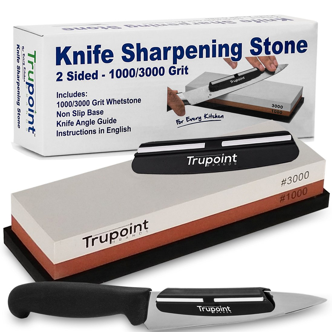 Trupoint Chefs Knife Sharpening Stone and Angle Guide System For The Perfect Edge Everytime -1000/3000 Whetstone Knife and Blade Sharpener Kit – NO RISK - Make Your Knives Razor Sharp Or Full Refund