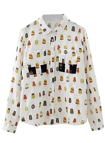 Azbro Mujer Camisa Estampado de Helado Dibujo con Botones