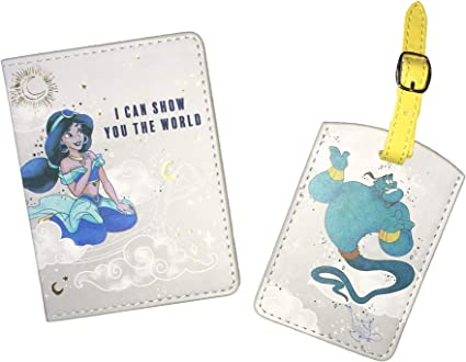 Disney Jasmine /& GENIE ALADDIN document de voyage portefeuille porte-gravé étoile lune