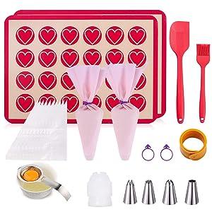 Macaroon Baking Kit-25 in 1 Cake Decorating Kit,Macaroon Baking Mat Set of 2 Half Sheet,1 Egg Yolk Remover,1 Braising Brush,1 Rubber Spatula,4 Frosting Tip, 12 Frosting Bag, 2 Piping Bag Tie,1 Coupler