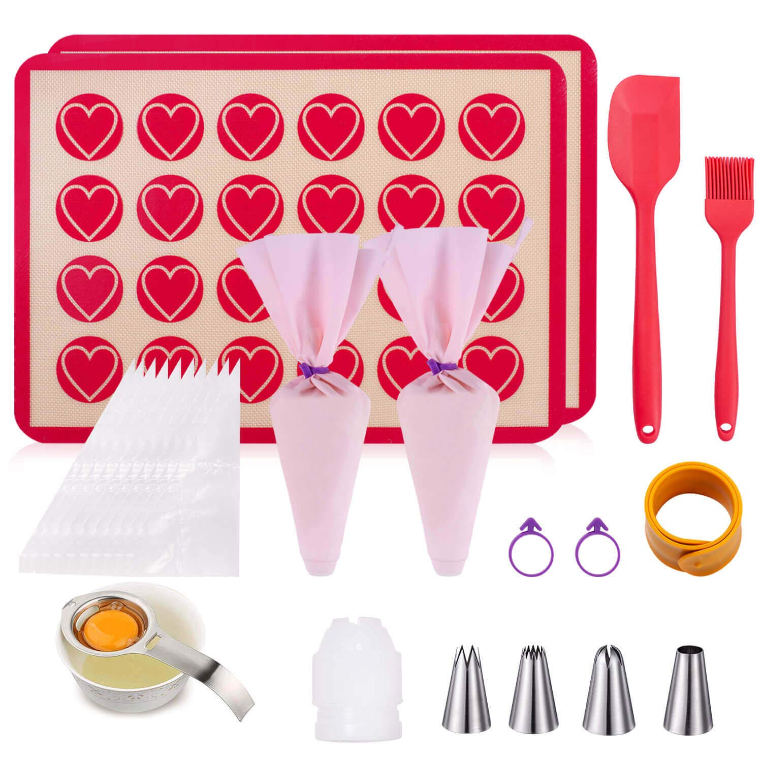 Macaron Mat Silicone Baking Mat for Macaron Baking Mat Kit(25 in 1) Macaroon Baking Mat Set,2 Half Sheet Macaron Silicone Mat,1 Egg Separator,1 Pastry Brush,1 Spatula,4 Frosting Tips,12 Piping Bags