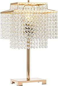 Popity home Gorgeous Double-Deck Bedside Crystal Table Lamp,Gold Desk Lamps with Elegant Crystal Shade,Nightstand Chandelier lamp for Bedroom, Living Room,End Table,Cafe
