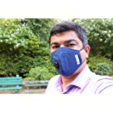 Crusaders Marathon Mask (Washable) N99 + Carbon 4 Layer Filter, 1 Pack Has 1 Washable Mask + 5 Replacement Filters ( Blue )