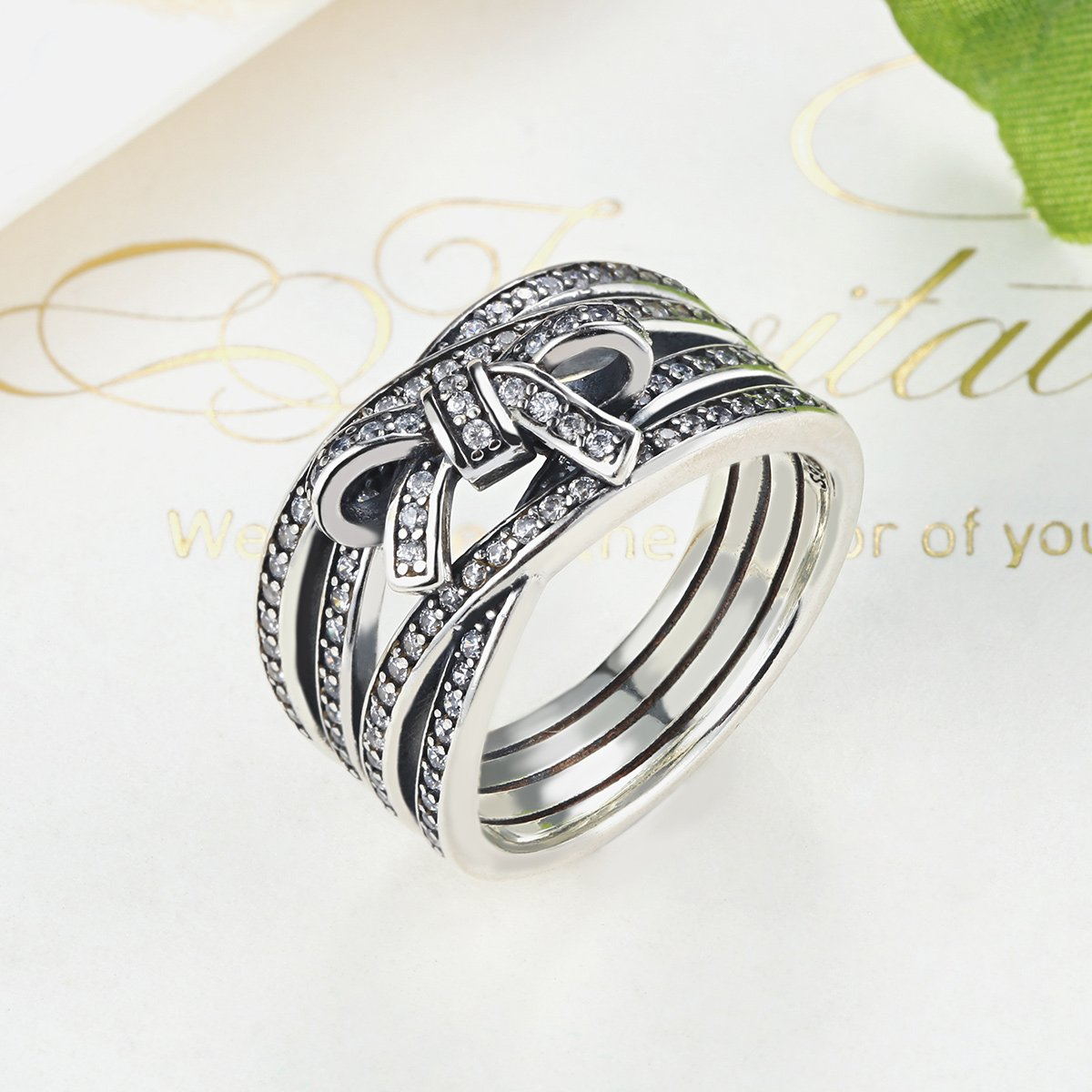 BAMOER 925 Sterling Silver Delicate Sentiments Ring 12mm Band with Sparkling Clear Cubic Zirconia Diamond Women Fashion Jewelry 6-9 (9) by BAMOER (Image #2)
