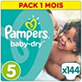Pampers - Baby Dry - Couches Taille 5 (11-23 kg/Junior) - Pack Économique 1 Mois de Consommation (x144 Couches)