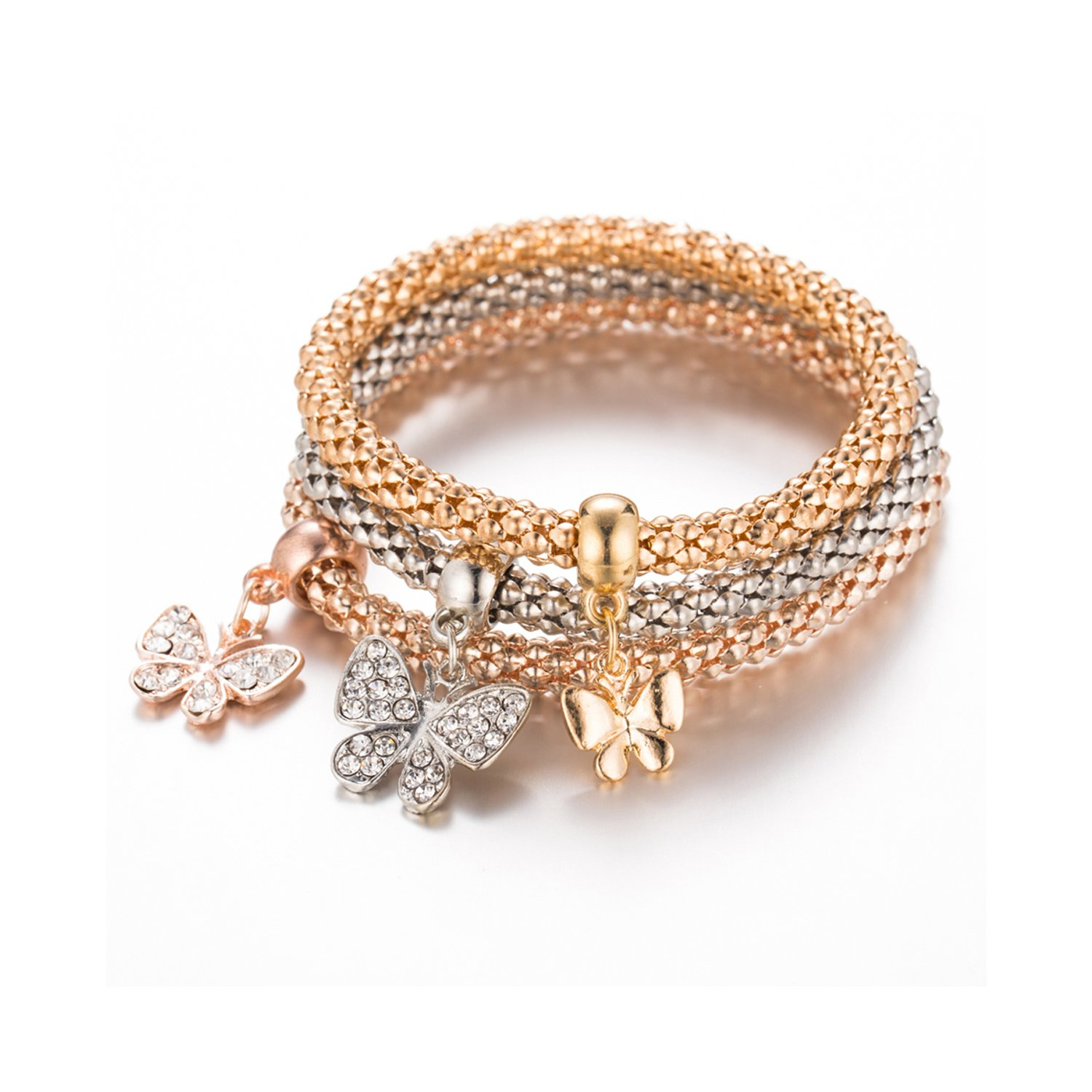 Young & Forever Trendsetter Collection Rose Gold Silver And Gold Plated Pack Of 3 Butterfly Charms Bracelet For Women / Girls B829