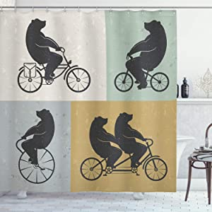Ambesonne Vintage Shower Curtain, Big Bear on a Bike Bicycle Cycling Hipster Circus Life Outdoor Animal Enjoy, Cloth Fabric Bathroom Decor Set with Hooks, 84