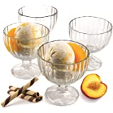 Palais Glassware 'Crème Glacée', Clear Glass, Ice Cream Dessert Bowls - Set of 4 - 9 Oz.