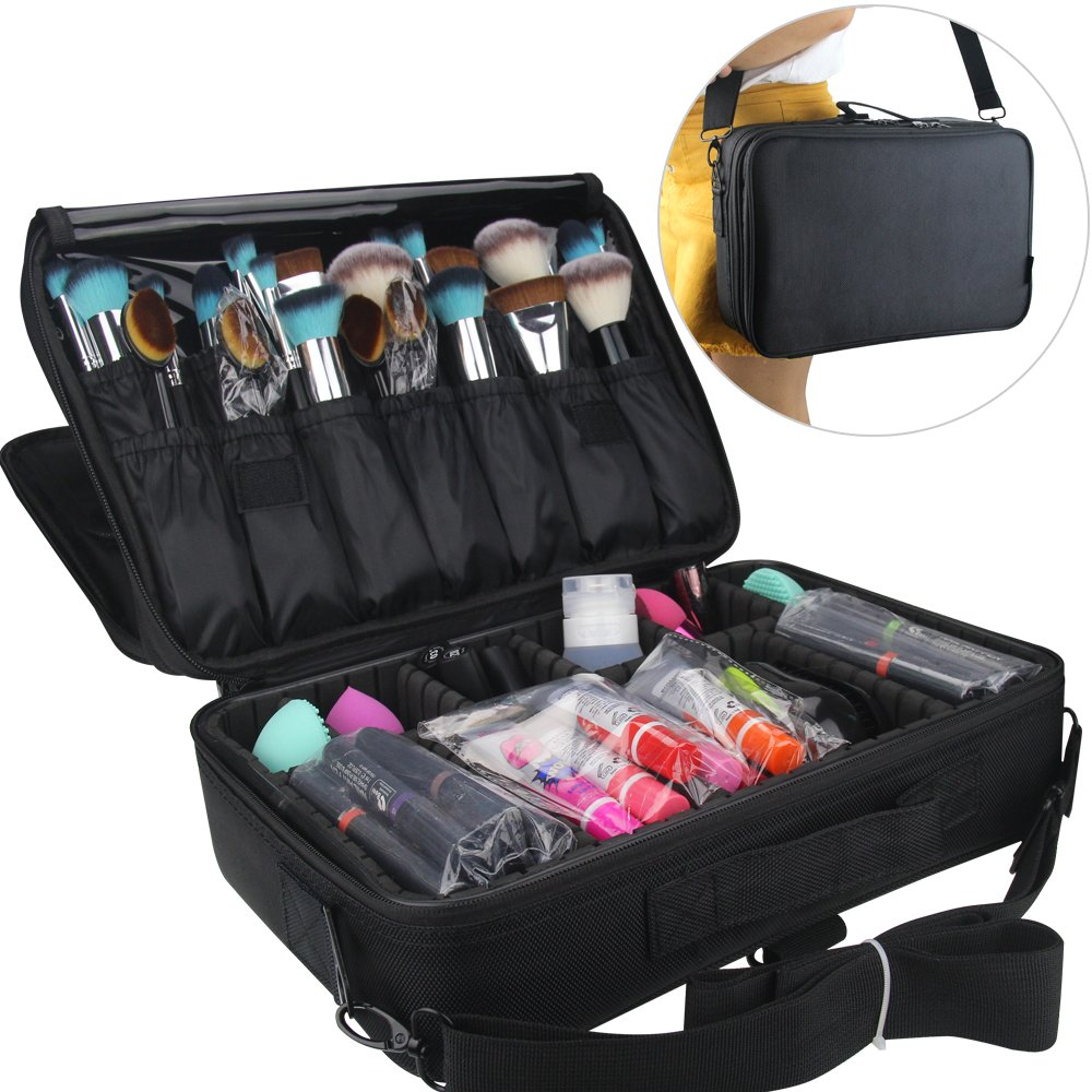 Travelmall Cosmético Organizador-Profesional Maquillaje Case-Travel Maquillaje Herramientas Contenedor (Rosa roja-(42x31x14)cm) shenzhen