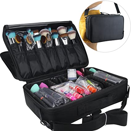 Travelmall Makeup Train Case 3 Layers Cosmetic Organizer Beauty Artist  Storage Brush Box for Hair Curler 4df78b109563a