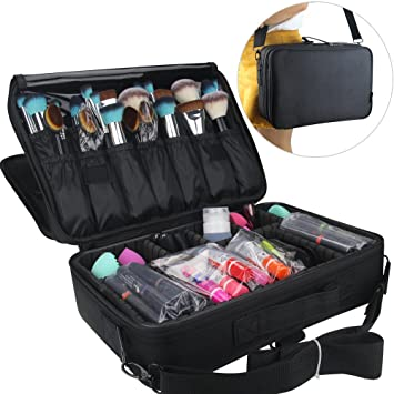Travelmall Makeup Train Case 3 Layers Cosmetic Organizer Beauty Artist  Storage Brush Box For Hair Curler