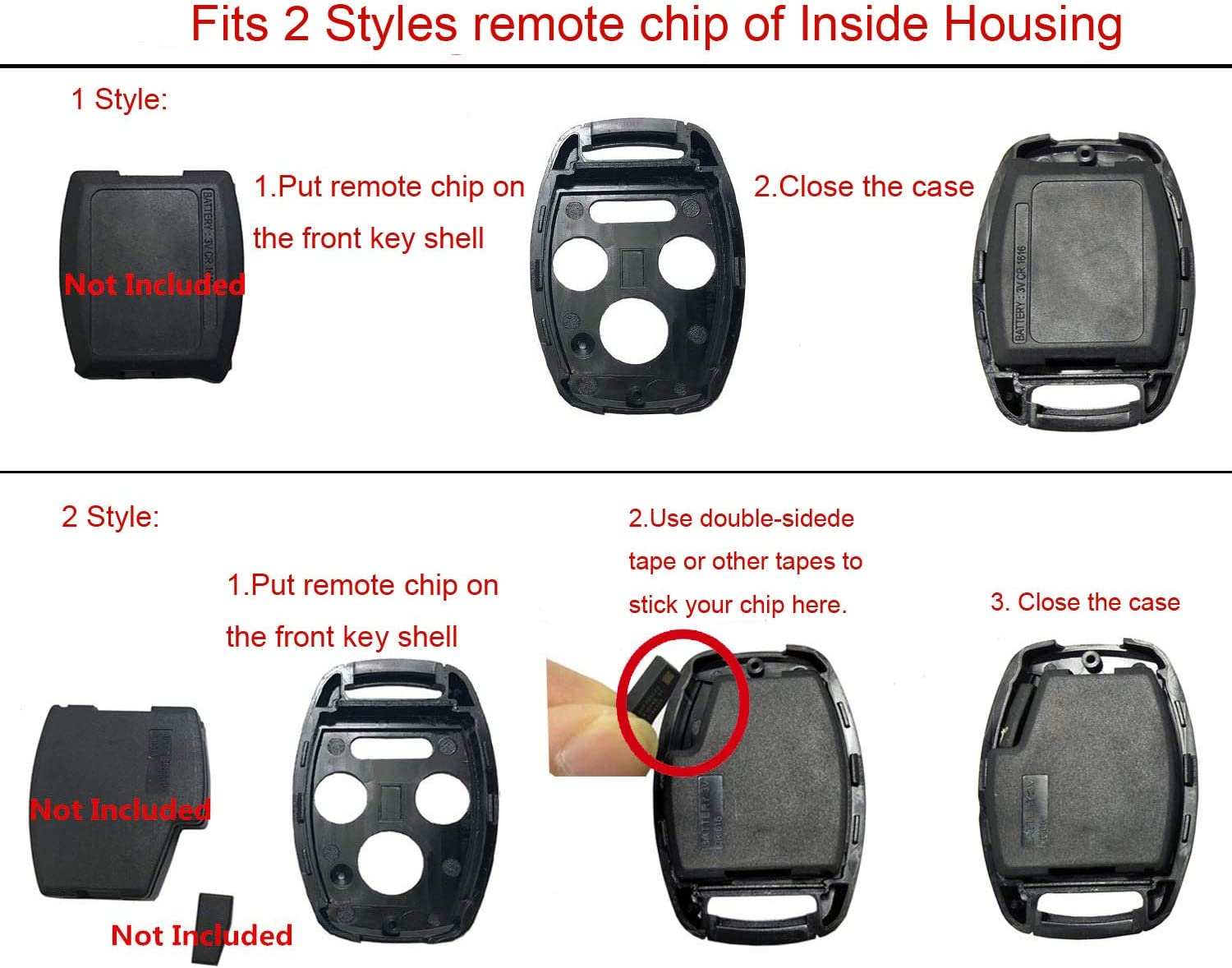 Key Fob Shell Case Fit for Honda Accord Civic Ex Pilot Keyless Entry Remote Key Housing Replacement with H Logo 4 Buttons replacement shell