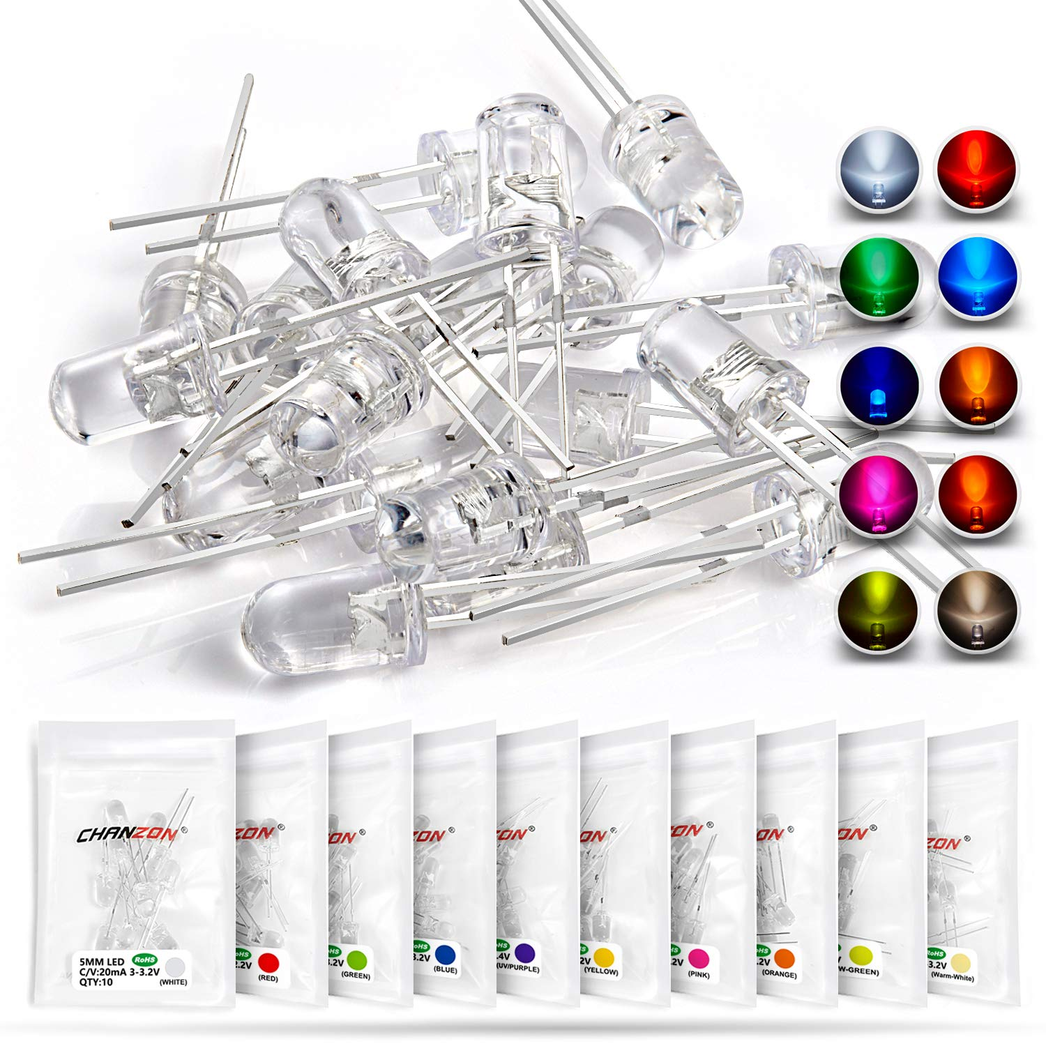 Chanzon 100 pcs(10 colors x 10 pcs) 5mm LED Diode Lights Arduino Assored Kit Pack (Clear Transparent DC 2V - 3V 20mA) Bright Lighting Bulb Lamps Electronics Components 5 mm Light Emitting Diodes Parts