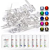 CHANZON H&PC-59042 100pcs (10 colors x 10pcs) 5mm Light Emitting Diode LED Lamp Assorted Kit for Arduino Warm White Red Yellow Green Blue Orange UV Pink Lights