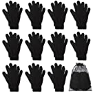 Cooraby 12 Pairs Winter Magic Gloves Stretchy Warm Knit Gloves with Mesh Storage Bag for Men or Women