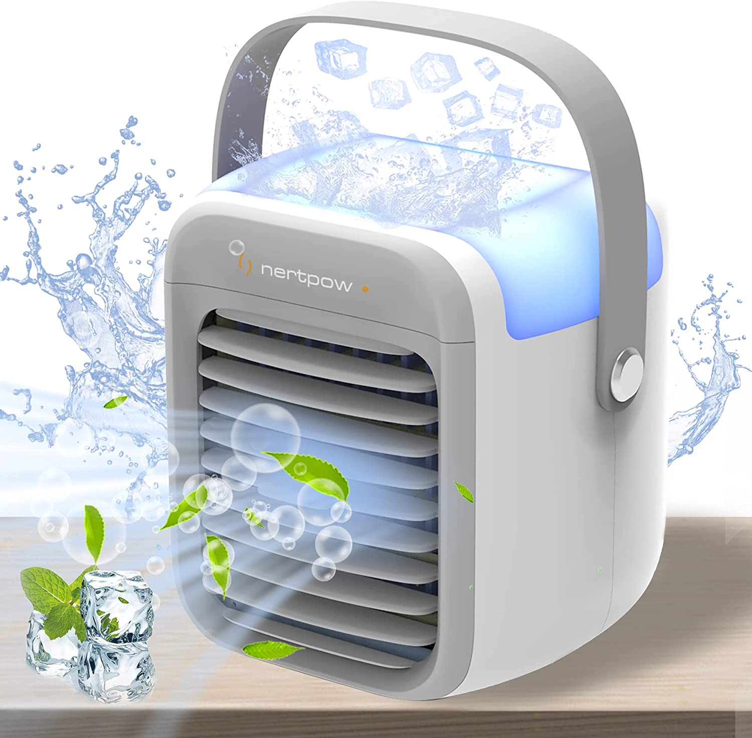 Nertpow Portable Air Conditioner, Portable Cooler, Quick & Easy Way to Cool Personal Space, As Seen On TV, Suitable for Bedside, Office and Study Room. Three Wind Level Adjustment ……