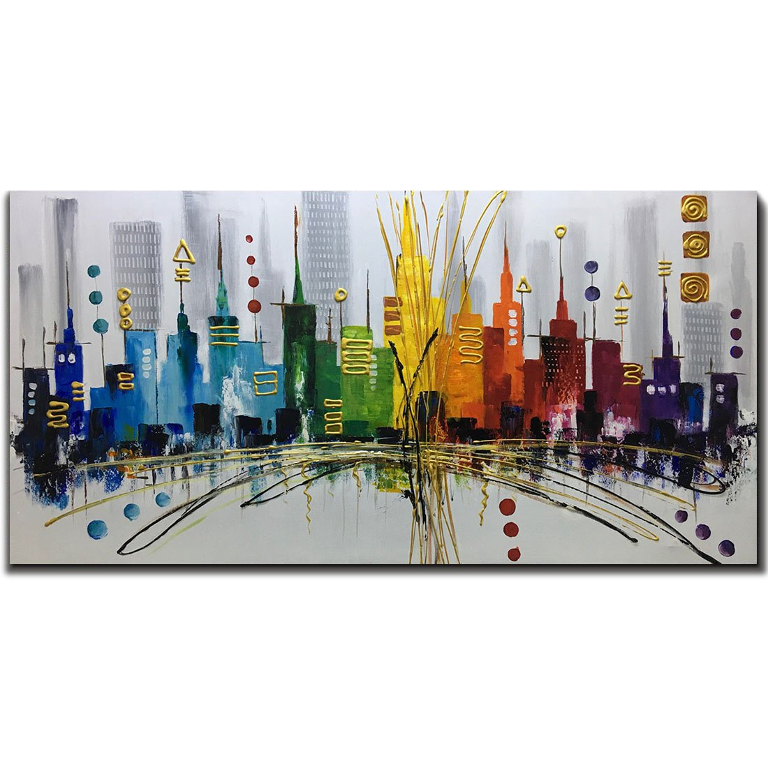 Fasdi-ART Large Modern Contemporary Cityscape Artwork Hand Painted Abstract Pictures Stretched Wood Framed Oil Paintings on Canvas Wall Art Décor for Living Room Decoration 24x48inch by Fasdi-ART