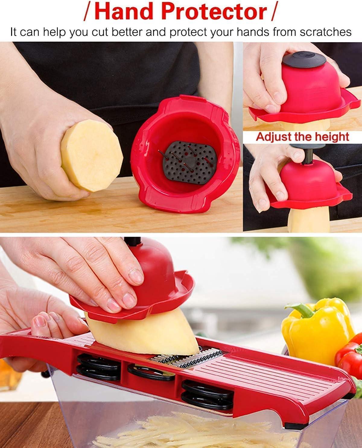 Mandoline Coupe-l/égumes Machine /Éplucheur de pommes de terre avec 6 lames interchangeables pour pommes de terre fromage oignon concombre etc.
