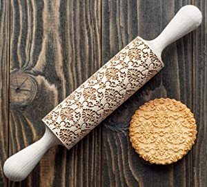 Damask Rolling Pin, 3D cookie stamp, ornamental pattern imprint utensil, engraved and embossing cookie stamp, cookie roller