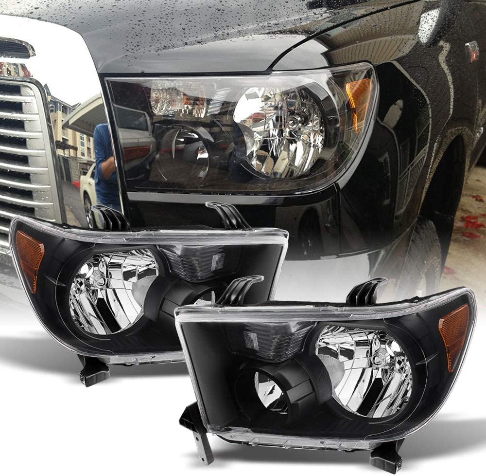 Torchbeam Replacement Headlight Assembly for 2007-2013 Tundra //2008-2017 Sequoia Black Housing Amber Reflector Driver and Passenger Side