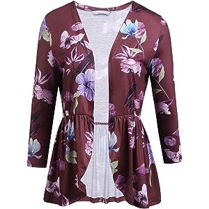 30afa6af310e5 Yayado Womens Floral Loose 3 4 Sleeve Cardigan Shrugs Ruffle Babydoll Top  Cover Up