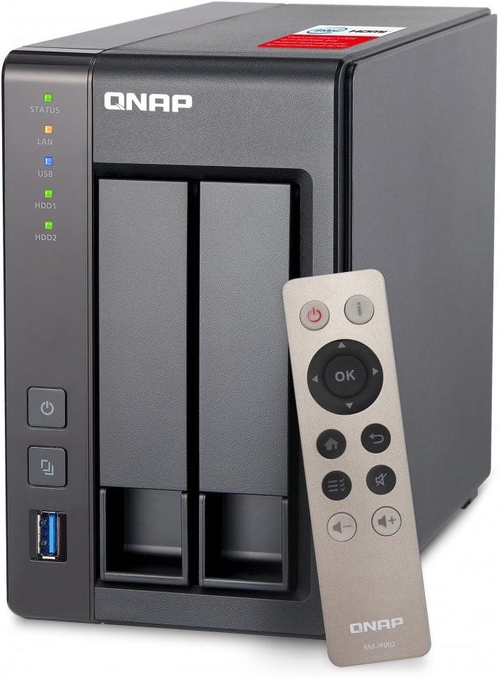 QNAP TS-251+ - Dispositivo de Almacenamiento en Red NAS (Intel Celeron, 2 GB RAM, 2 x USB 3.0, SATA II/III, Gigabit), Negro