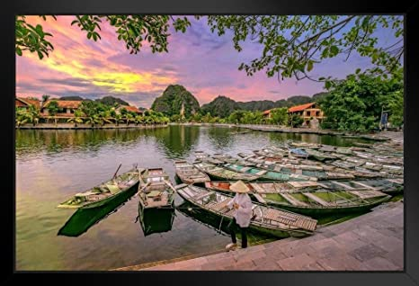 Amazon Com Waiting For Passengers At Sunrise Hoa Lu Tam Coc Photo Art Print Black Wood Framed Poster 20x14 Posters Prints
