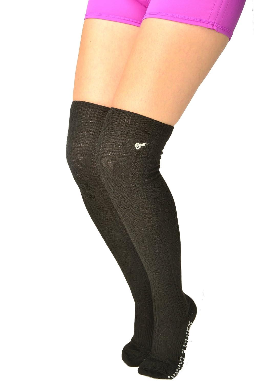 Treadfast Grippy Socks Non Slip Thigh High for Pilates, Barre, Yoga