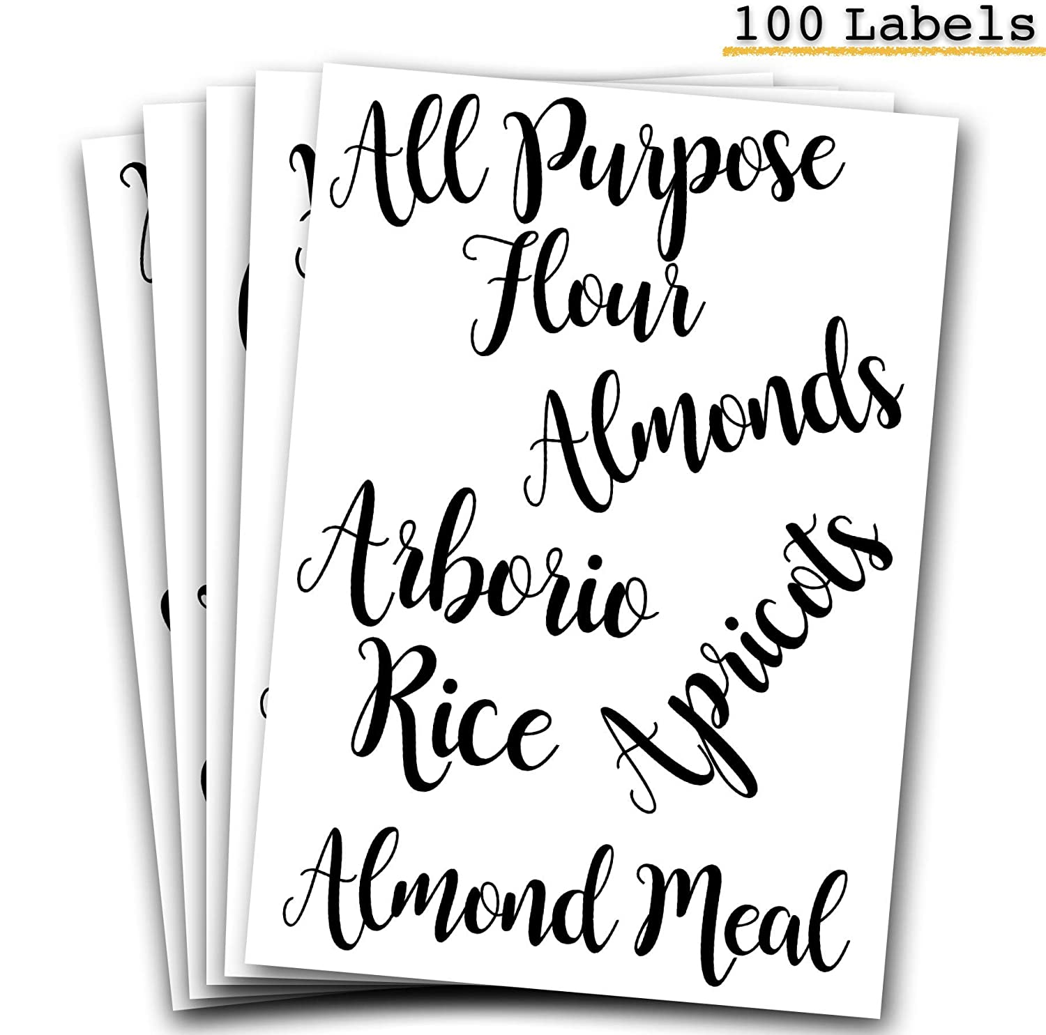 Decorative Pantry, Kitchen Labels for Food and Ingredients - Adorable Organizer Stickers, Clear, Cursive Style - Mason Jar, Canister, Container Itemized Labels for Flour, Sugar, Grains, Pasta and more