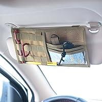 Tactical Molle Vehicle Visor Panel Truck Car Sun Visor Organizer Holder Pouch Sunshade Storage Bag (Tan)