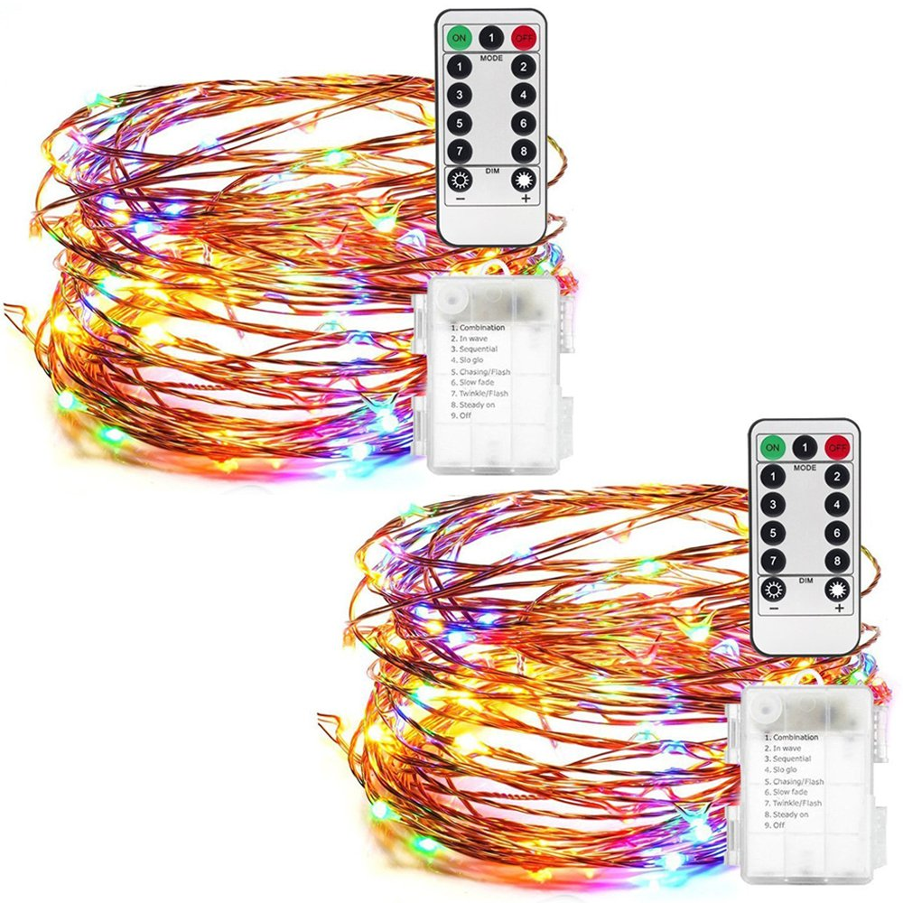 Anmete 2 Pack LED Fairy String Lights Battery Powered Multi Color Changing Rope Lights With Remote 50 LED Indoor Decorative Wire Firefly Lights for DIY Bottle Wedding Birthday Party Bedroom Patio Outdoor Garden Christmas Tree 16ft/5m ( Multicolor )