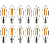 helloify BA11 Dimmable Vintage LED Edison Candelabra Bulb, 60W Equivalent, High Brightness, Warm White 2700K, Clear…