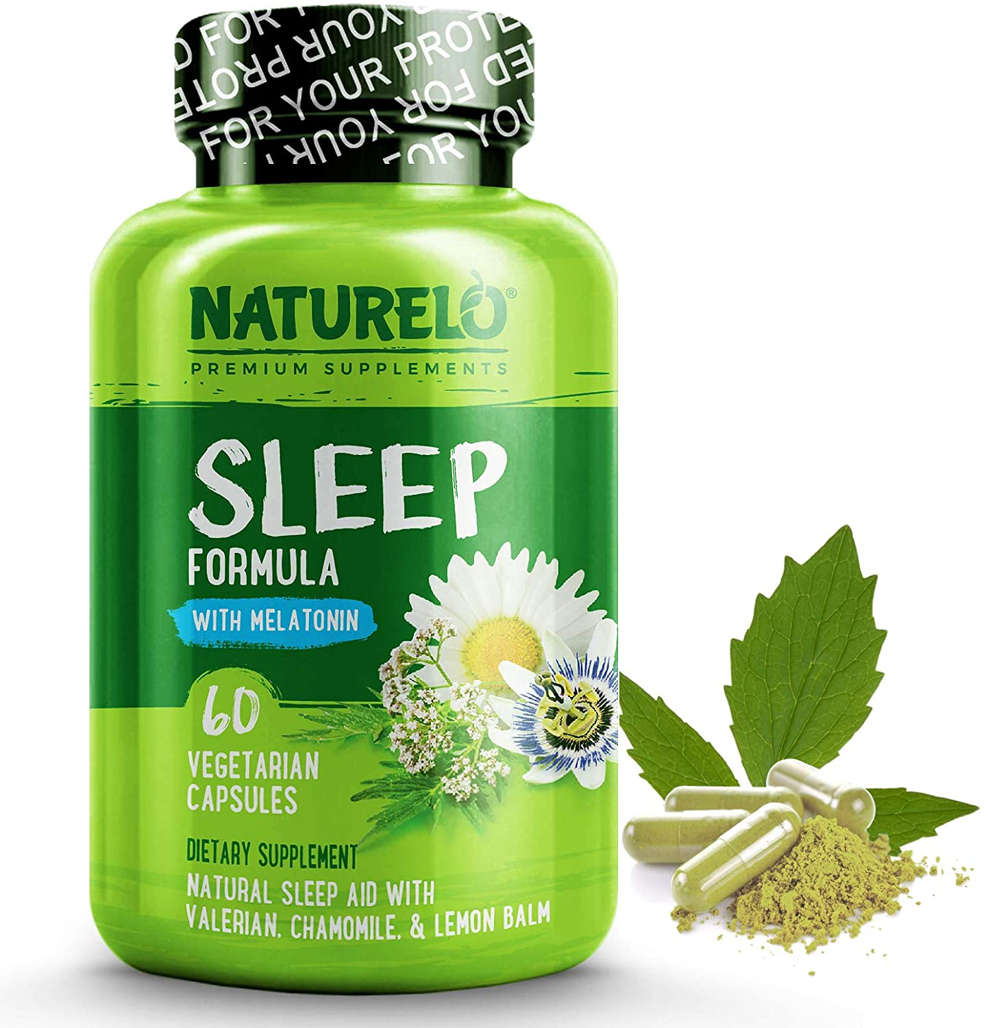 NATURELO Natural Sleep Aid - with Melatonin, Magnesium, GABA, Valerian Root, Lemon Balm, Chamomile Extracts - Best Natural Sleeping Aid - 60 Vegan Capsules