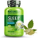 NATURELO Natural Sleep Aid - with Melatonin, Magnesium, GABA, Valerian Root, Lemon Balm, Chamomile Extracts - Best Natural Sl