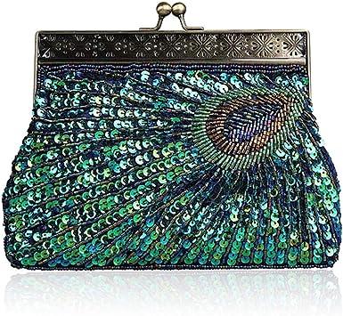 Jessie Bolso de mano para mujer, estilo vintage, diseño de pavo real, con lentejuelas, para novia, boda, fiesta, bolso de mano con cadena
