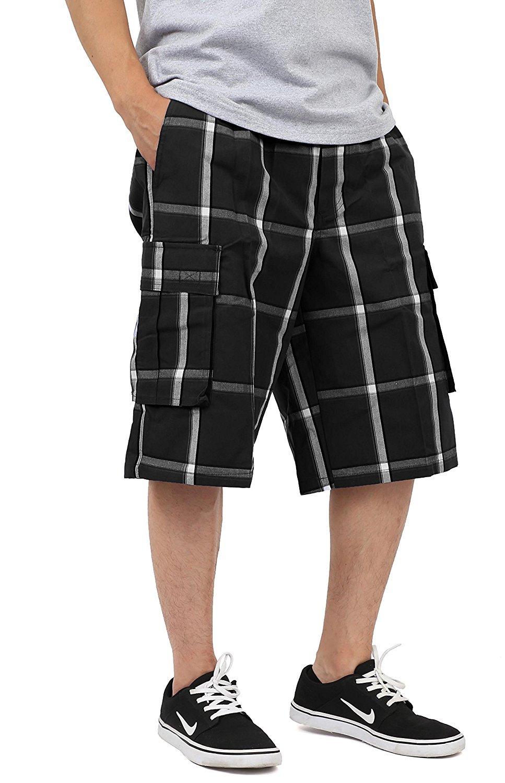 Shaka Wear - Plaid Cargo Shorts for Men - X-Large, Black