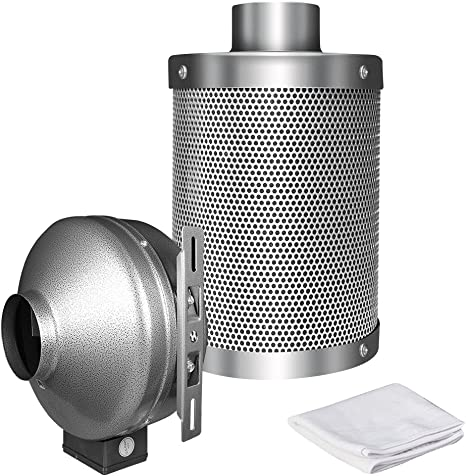 "4/"" Inline Duct Fan /& 4/"" Air Carbon Filter /& 4/"" 8FT//25FT PVC Air Duct Kits Lumo-X"