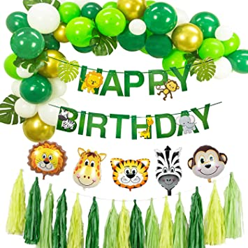 Jungle Theme Party Supplies - Decoración de Fiesta de cumpleaños Feliz cumpleaños Banner Selva temática Globos de Animales Bosque Hawaiano Decoración ...