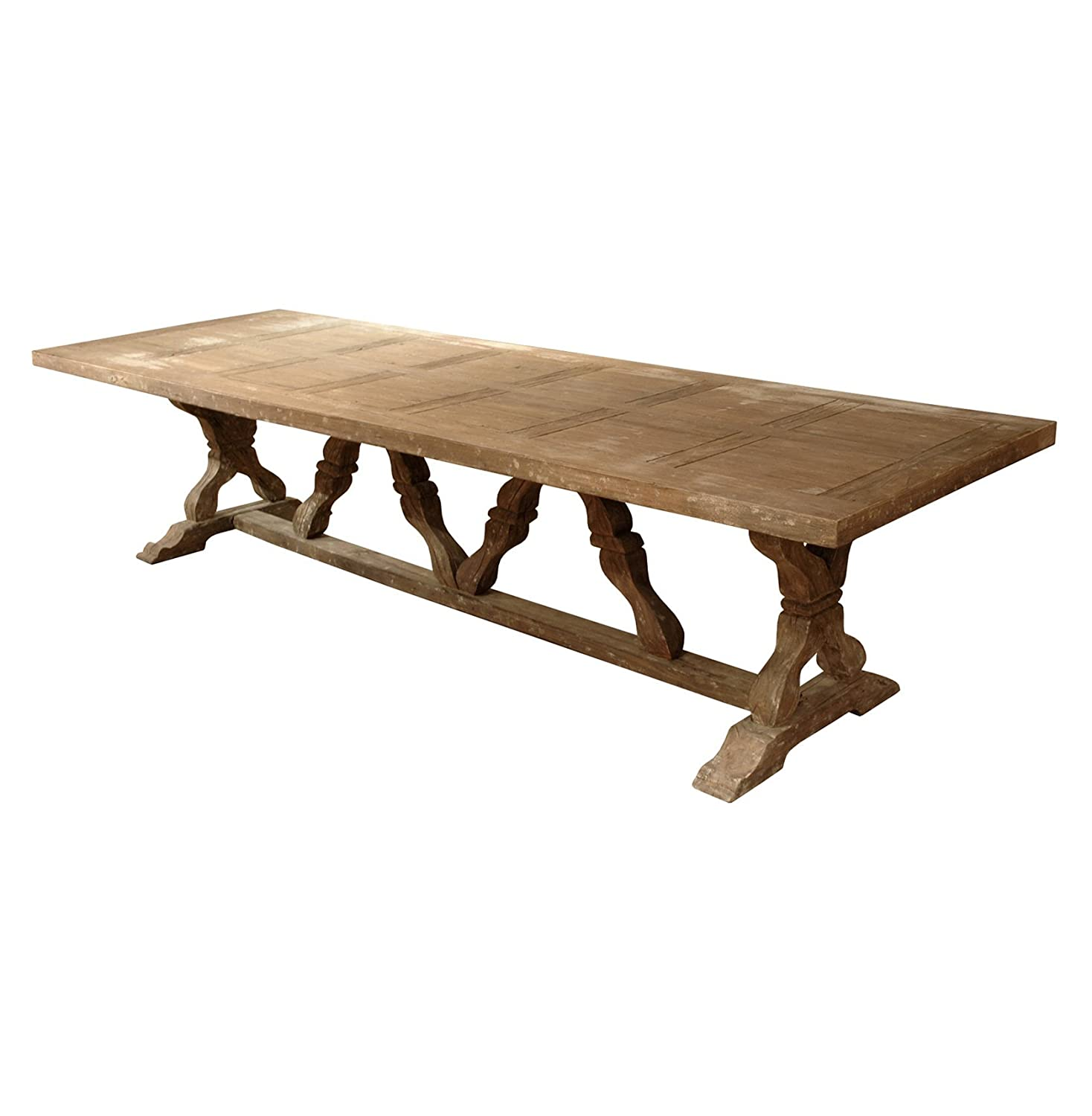 Linley Heavy Distress Farm House Trestle Dining Table Seats 14