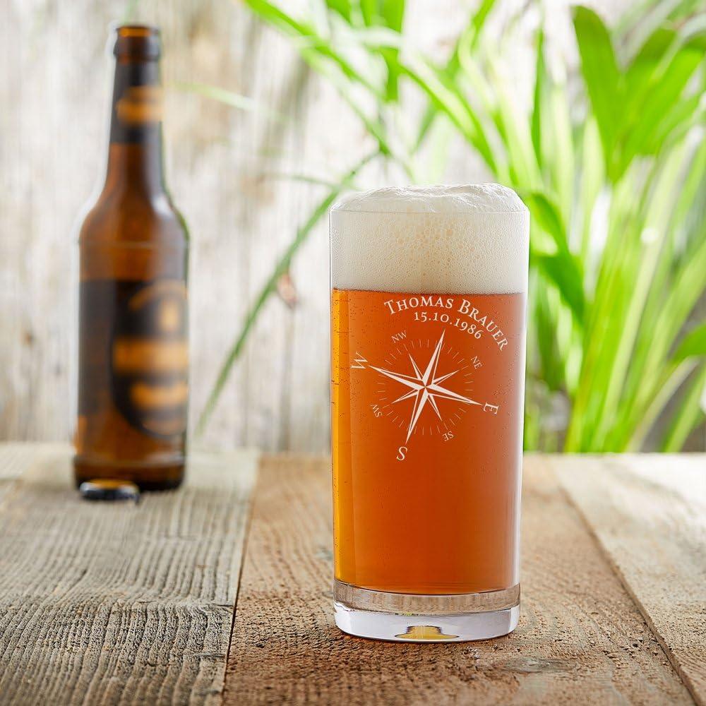 capacit/à: 0,5 l Bussola Personalizzato con - Bicchiere da Pinta Bicchiere da Cocktail Bicchiere per Birra Artigianale con Incisione Nome Festa del pap/à Data Regalo per Lui AMAVEL e