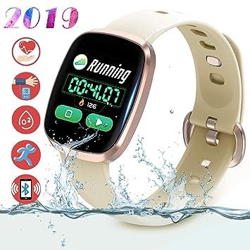 Smartwatch Fitness Tracker Pantalla Táctil Completa - Rastreador de Actividad Deportiva Presión Arterial Monitor de Sueño Podómetro Pulsera ...
