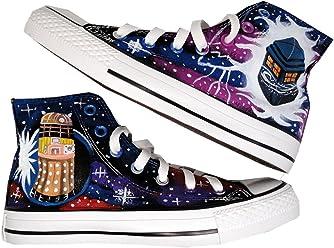 5bfac8d181 HuanQiu Doctor Who Tardis Canvas Shoes High Topgallifreyan Painted Fashion  Sneaker for Women Men … Black