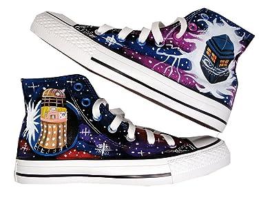 412a596a7de2 HuanQiu Doctor Who Tardis Canvas Shoes High Topgallifreyan Painted Fashion  Sneaker for Women Men … (