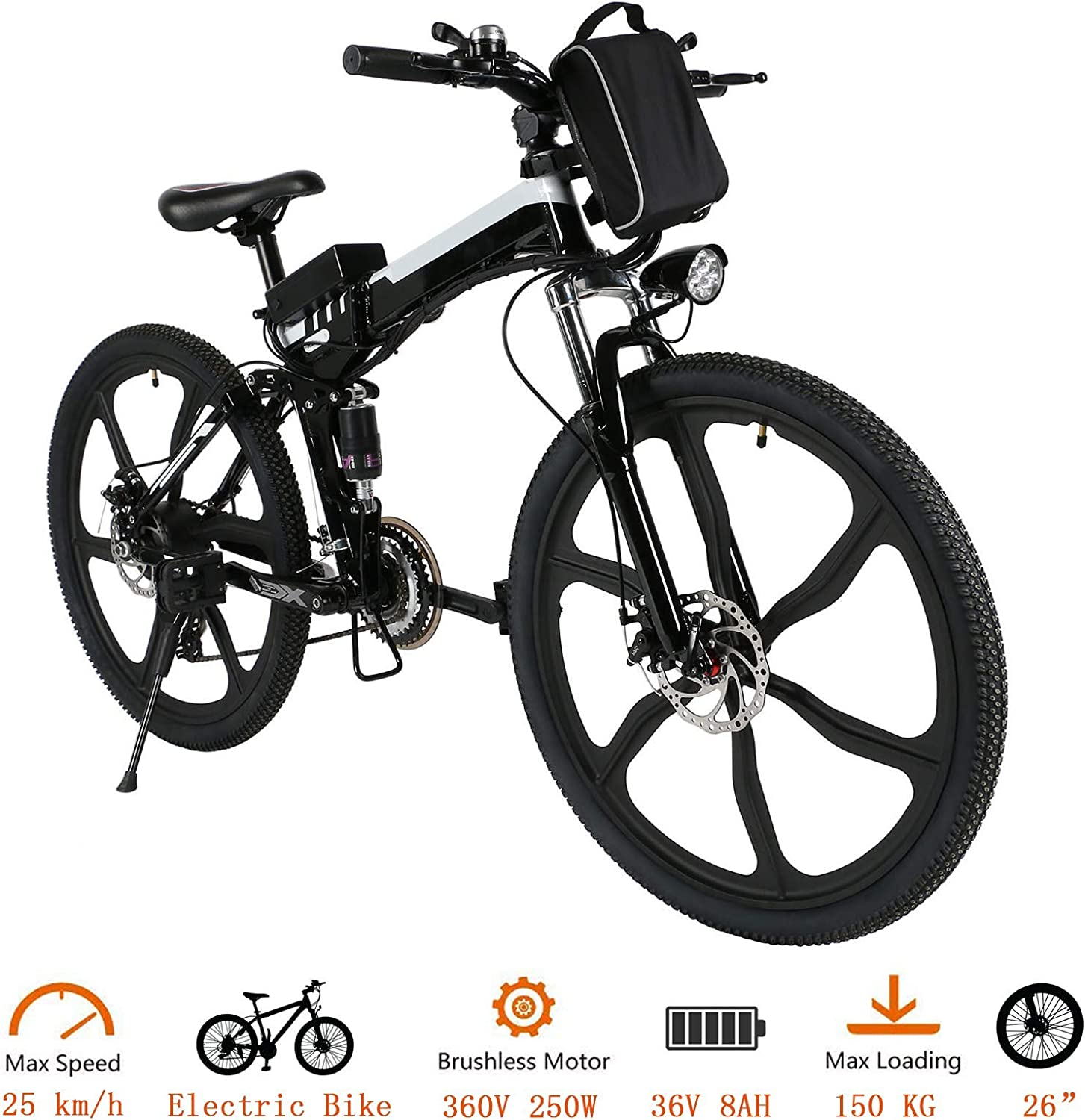 Tomasar Power Electric Bike with Lithium-Ion Battery, 26 20 inch Wheel Cyclocross Bike US Stock
