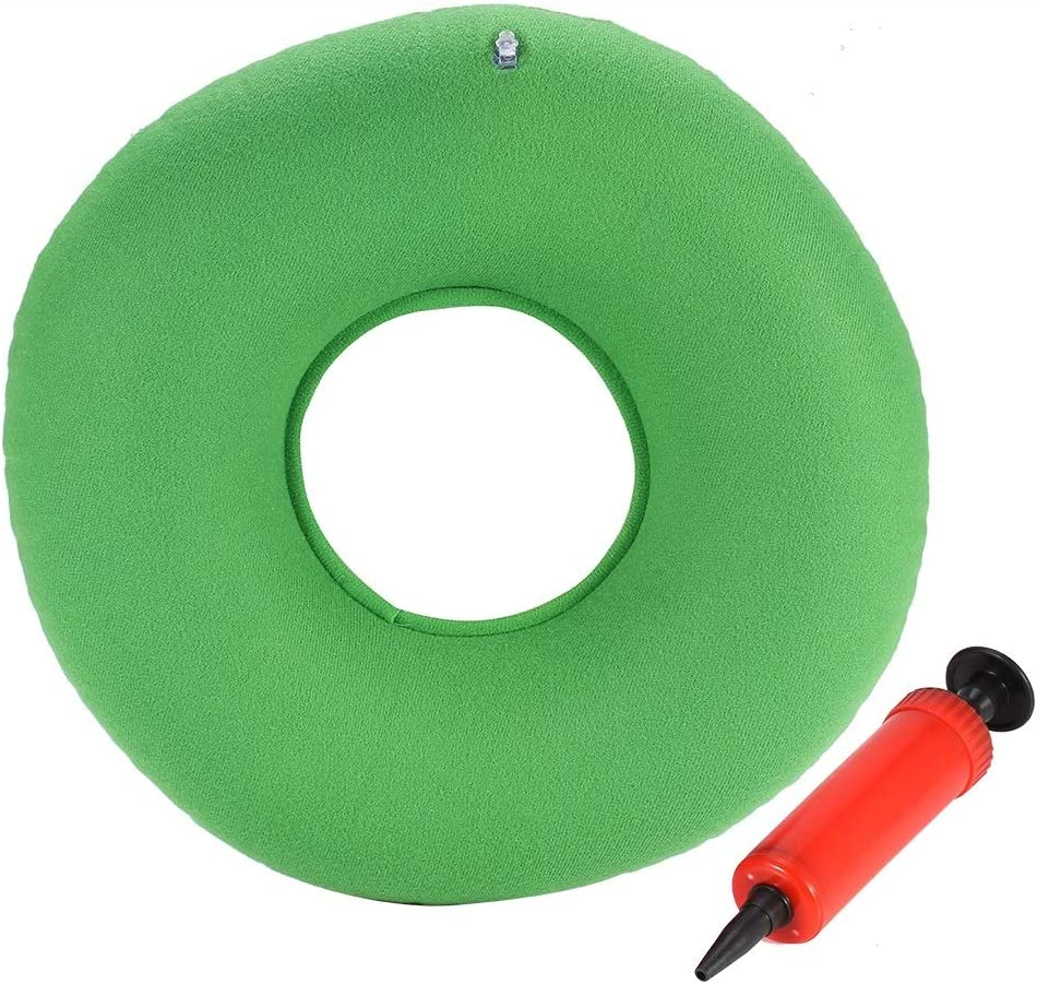 Cojín Ortopédico para el Asiento - Delaman Ergonómico Cojín Inflable para el Asiento Redondo con Bomba para Hemorroides Cura a Presión Sillas de Ruedas Embarazadas 34cm (Color : Verde)