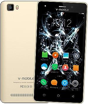 Moviles Libres Baratos 4G,V Mobile A10 5,0 Pulgadas 8GB ROM 1GB RAM,2800mAh Bateria,5MP Camara,Dual SIM,Android 7.0 Smartphone Baratos Libres (Oro): Amazon.es: Electrónica
