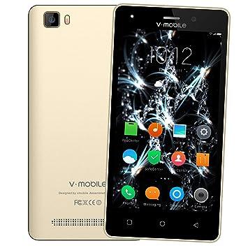 Moviles Libres Baratos 4G,V Mobile A10 5,0 Pulgadas 8GB ROM 1GB RAM,2800mAh Bateria,5MP Camara,Dual SIM,Android 7.0 Smartphone Baratos Libres (Oro)