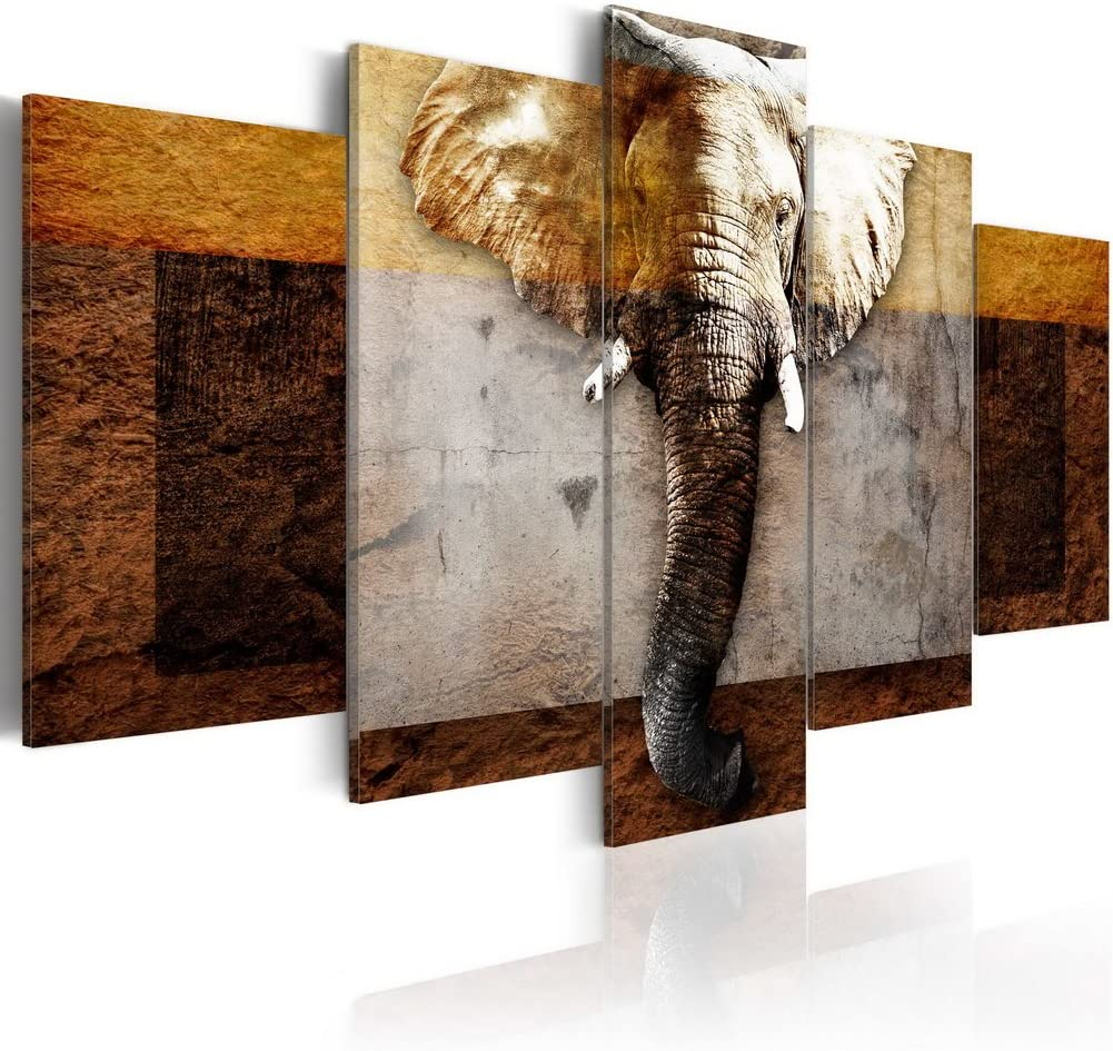 "Konda Art 5 piece Elephant Canvas Picture Framed Modern Animal Paintings for Bedroom Wall Decor Print Artwork Ready to hang (Strength of Africa, 40""x 20"")"