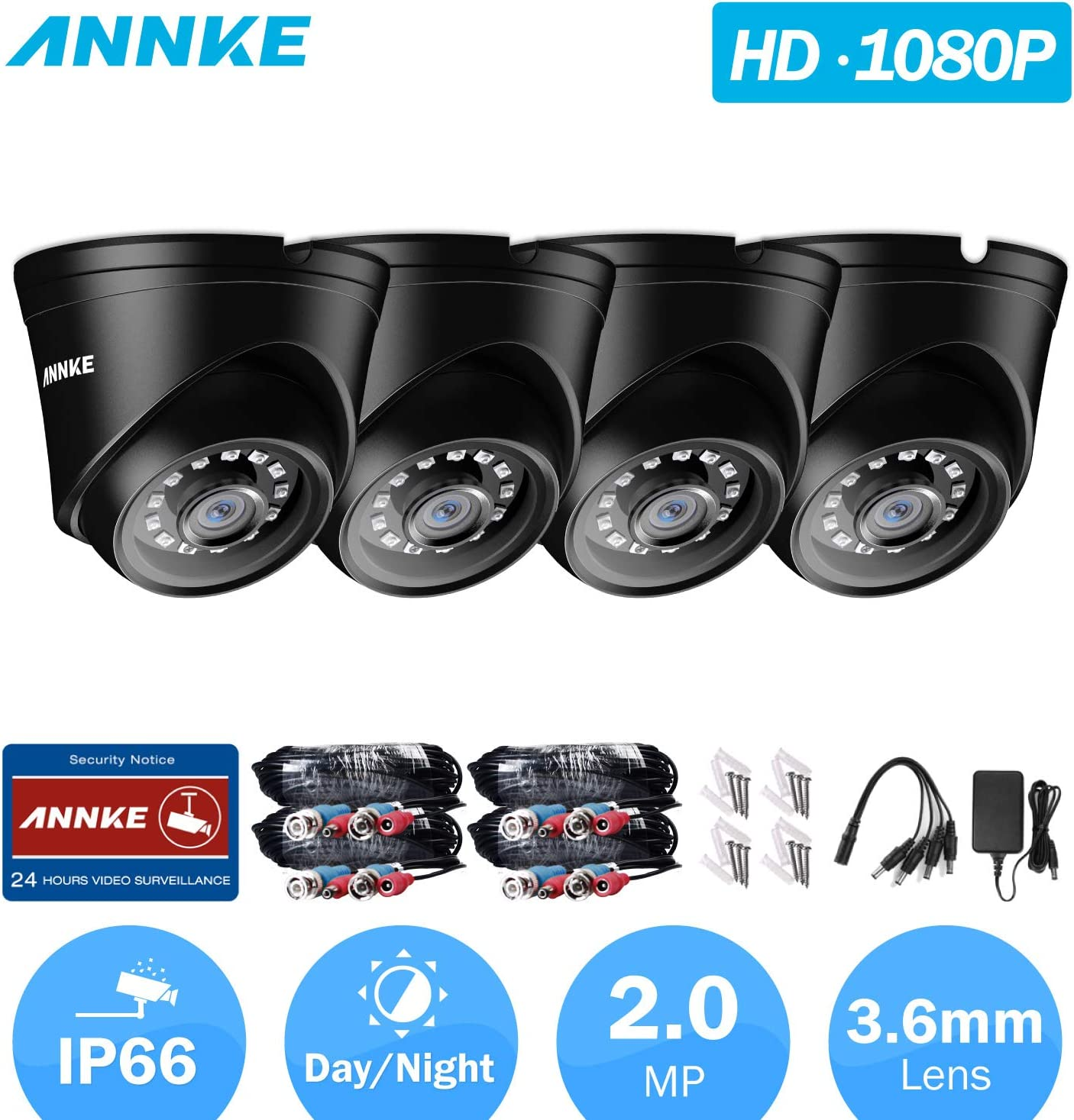 ANNKE HD TVI Add-on 1080p Video Security Camera with Indoor Outdoor IP66 Weatherproof Housing and IR Night Vision LEDs 4-Pack, Black
